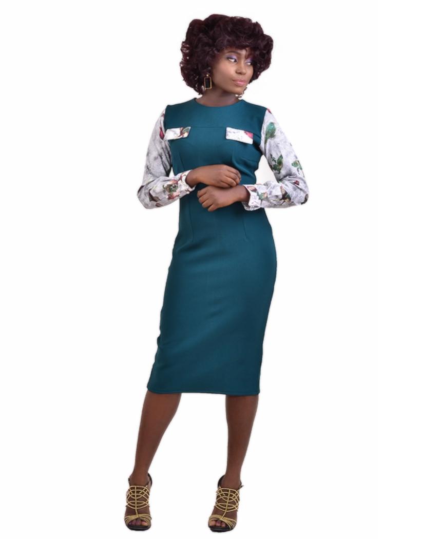 cecae445a9 Peekaboo Pencil Dress-Teal Green - Karen Ubani Apparel