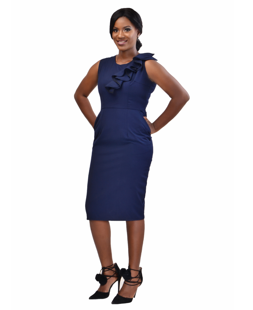 beautiful navy blue dress that has a double ruffled like layered hem Àt the bottom of the dress. this dress zips down the back of the dress and it has a double v-neck one in the front of the dress and in the back of the dress this dress can be worn on a dinner date with that special person or on a business dinner date with the boss or to work.