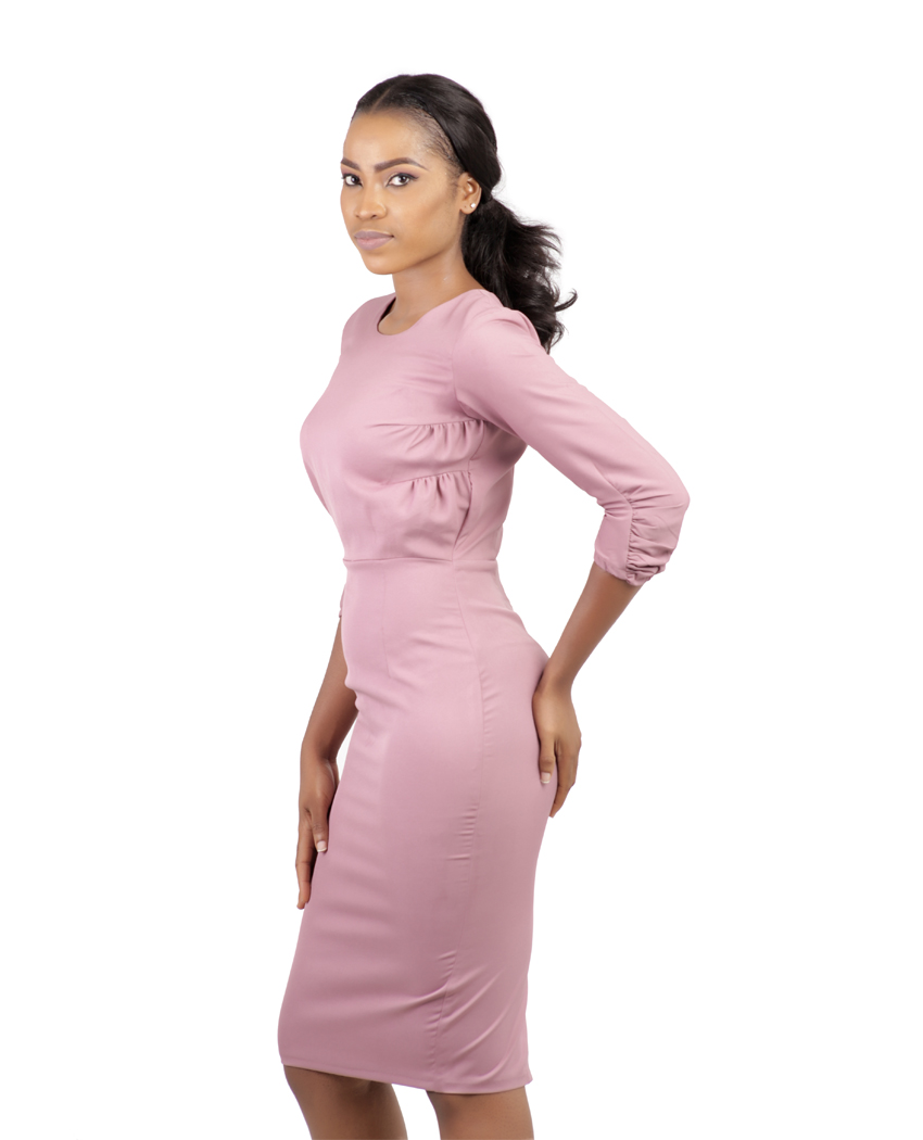 a08845011df8f Blush Pink Midi Pencil Dress - Karen Ubani Apparel