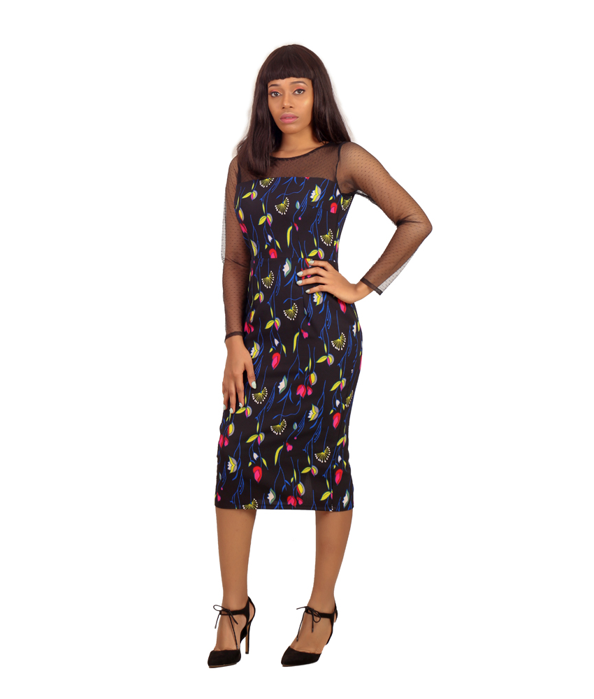 The Barbara Floral Net Detail Pencil Dress - Karen Ubani Apparel