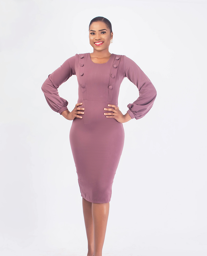 9ad0acfbc0 Mauve Pencil Dress With Covered Button Detail - Karen Ubani Apparel