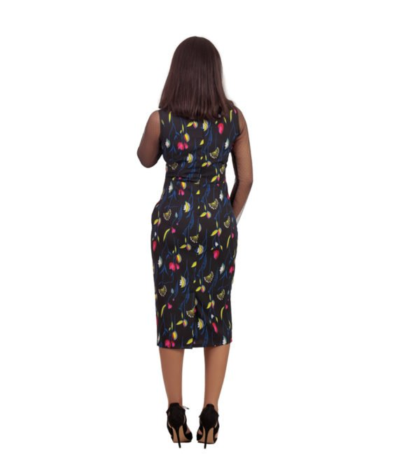 The Barbara Floral Net Detail Pencil Dress 3