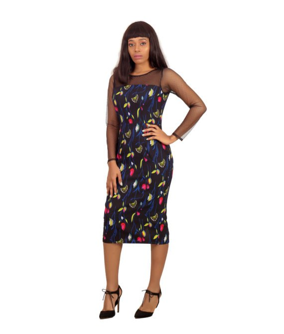 The Barbara Floral Net Detail Pencil Dress 1