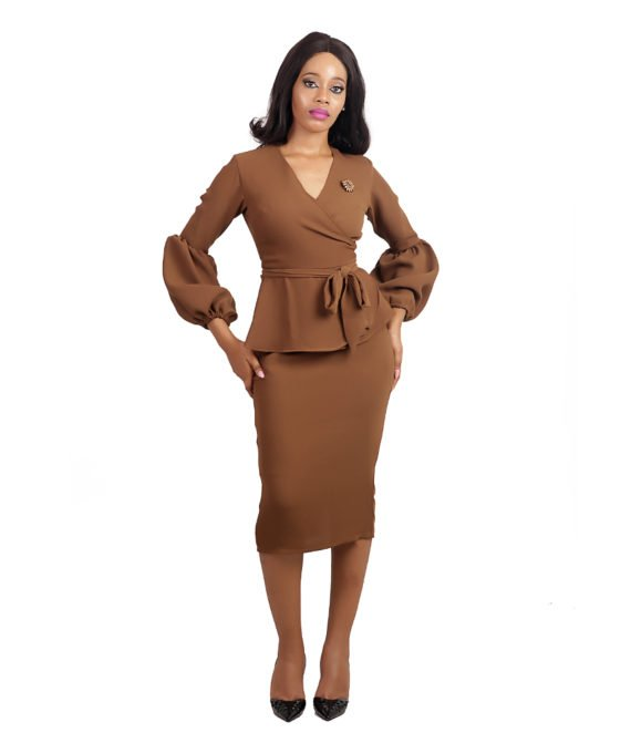 Olive Brown Skirt Suit/Coord 1