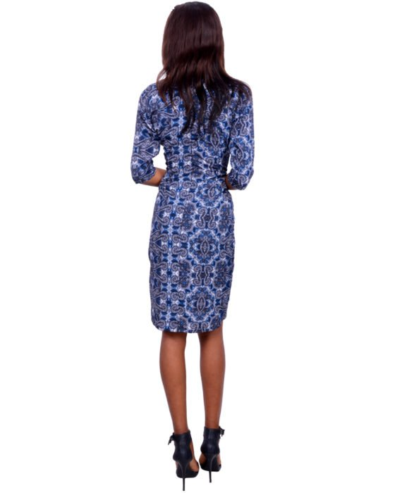 The Blue Paisley Twist Front Pencil Dress 3