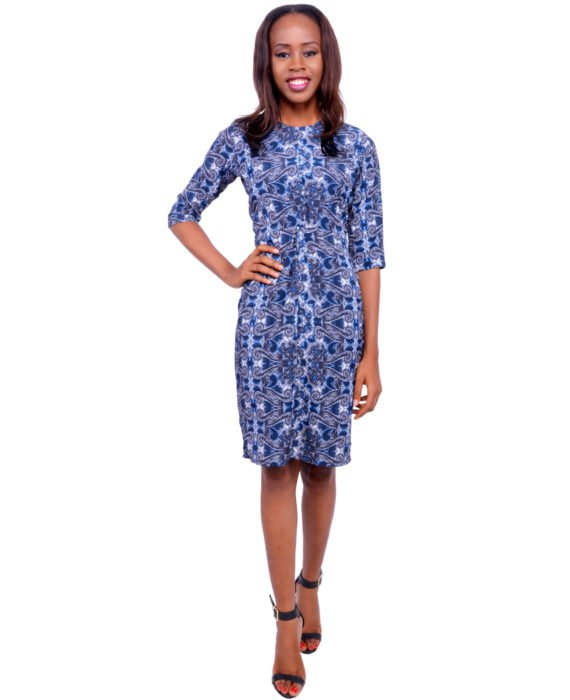 The Blue Paisley Twist Front Pencil Dress 1