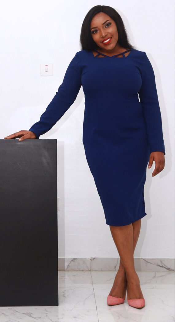 Blue Midi Dress With Neck Details 4
