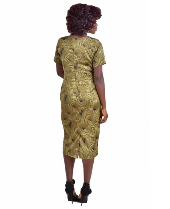 The Kate Henshaw Olive Print Pencil Dress 4