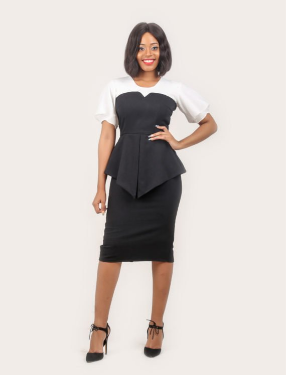 The Victorian Peplum Dress (Off white and Black) 2