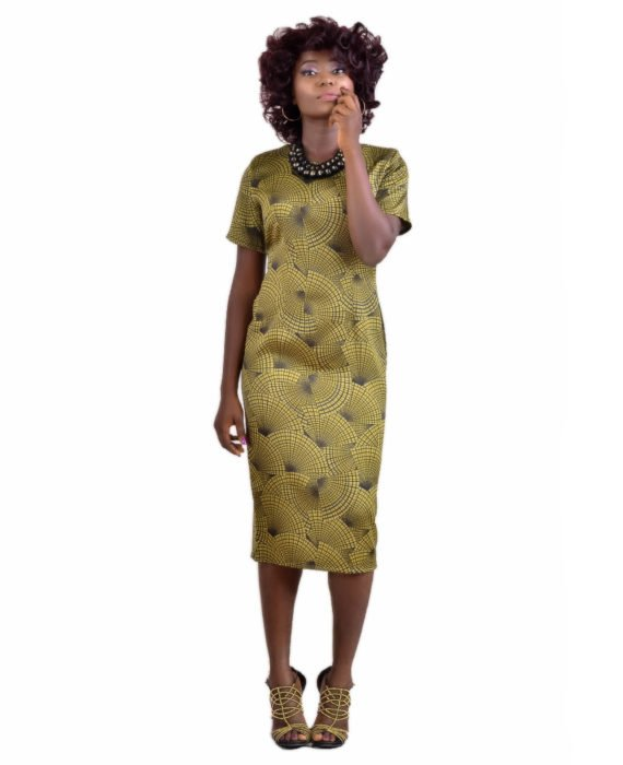 The Kate Henshaw Olive Print Pencil Dress 1