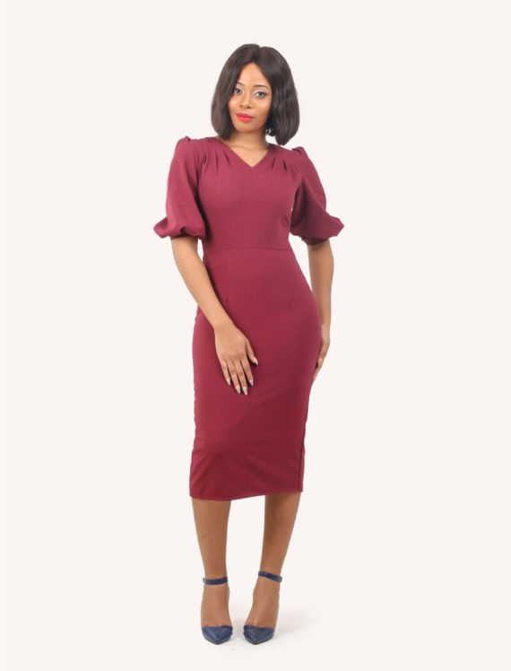 The Raspberry Draped Shoulder Wine Dress 1