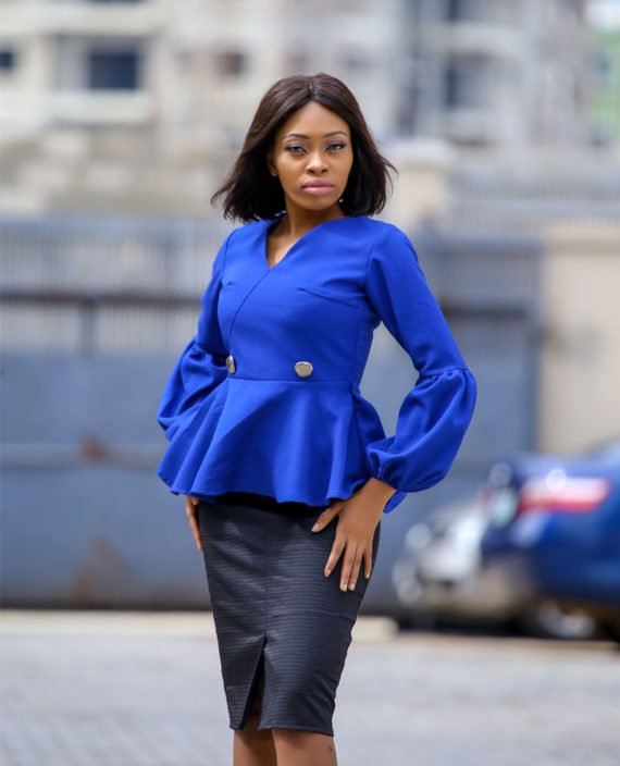 The Jessica blue peplum jacket 1