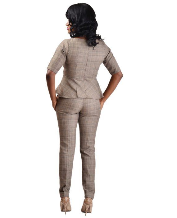 Brown Houndstooth Trouser Suit 3