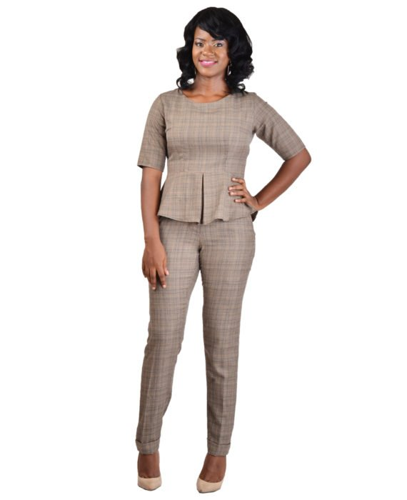 Brown Houndstooth Trouser Suit 1