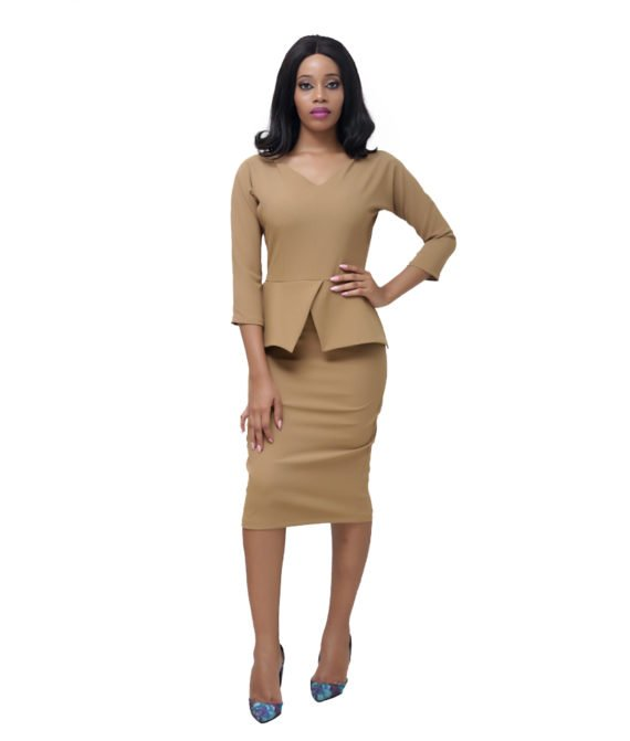 The Nude Peplum Dress 1