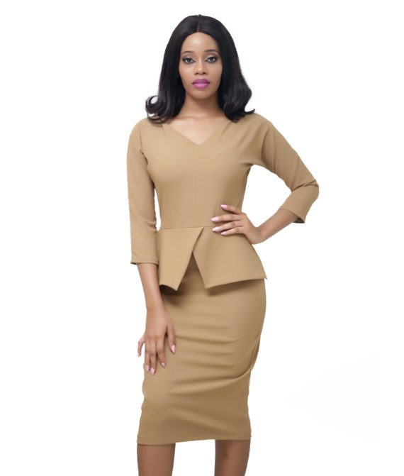The Nude Peplum Dress 3