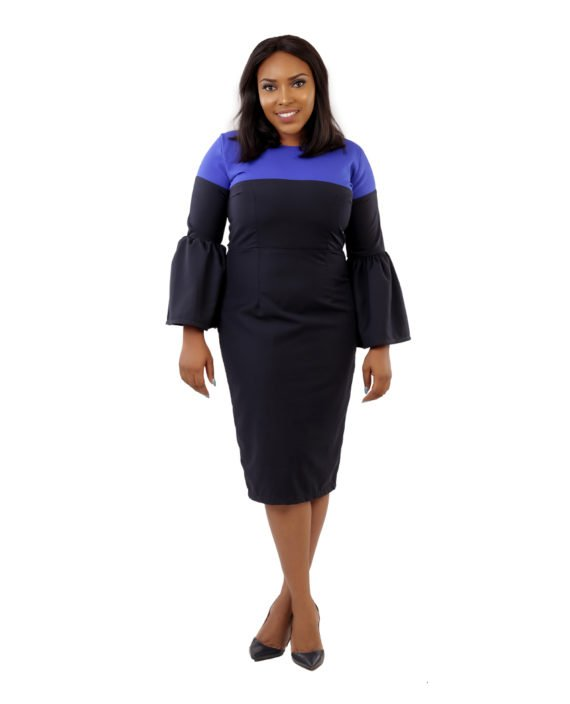 Two - Tone Dress In Black and Royal Blue 4