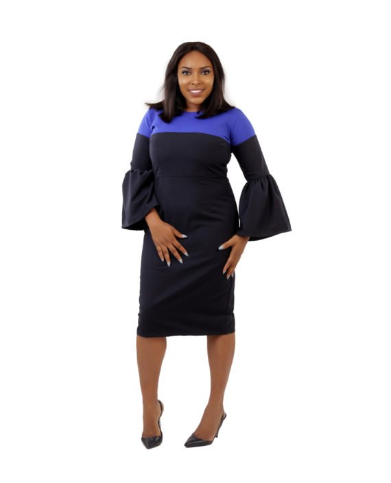 Two - Tone Dress In Black and Royal Blue 1
