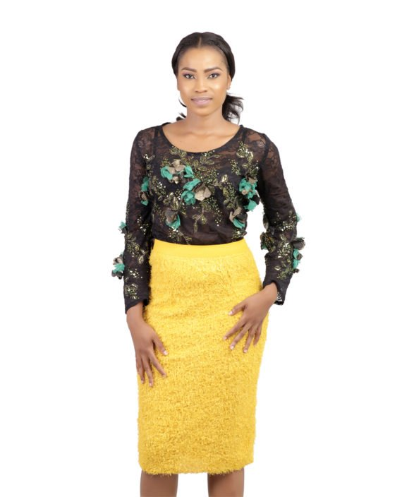Yellow Fur Midi Skirt 5