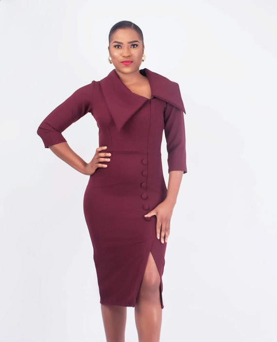 Burgundy Exaggerated Collar Dress 3