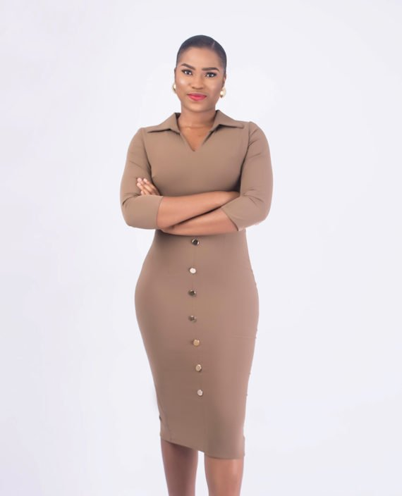 Nude Pencil Dress With Open Shirt Collar 3