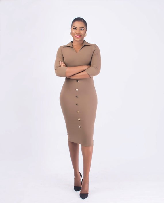 Nude Pencil Dress With Open Shirt Collar 1