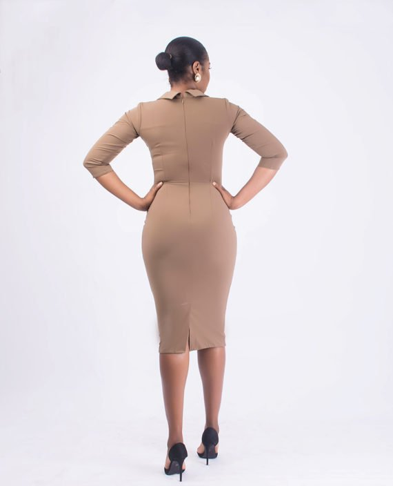 Nude Pencil Dress With Open Shirt Collar 2