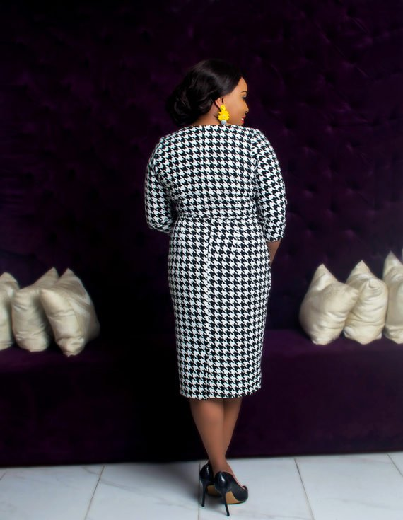 Houndstooth Faux Wrap Dress 3