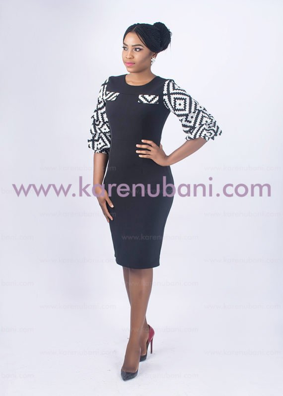 Black Dress With Monochrome Inserts 2