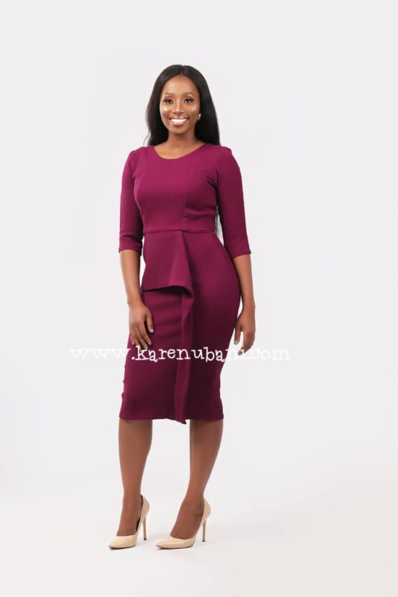 Deep Magenta Peplum Detail Dress 1