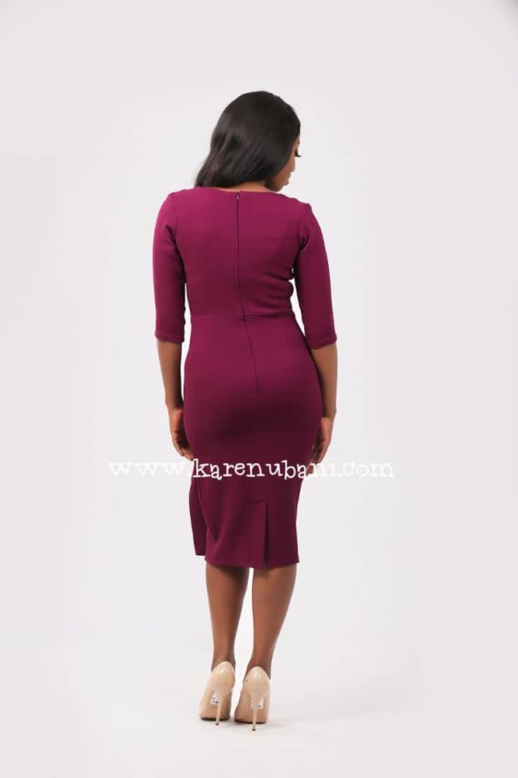 Deep Magenta Peplum Detail Dress 3