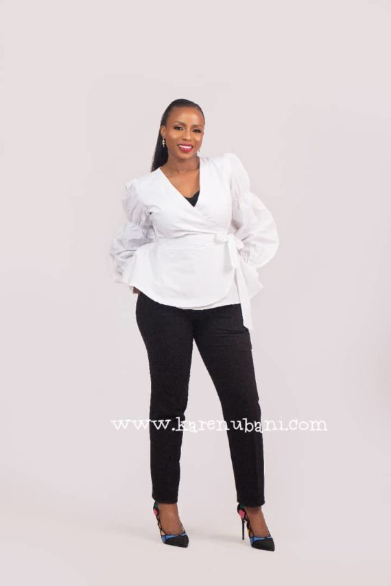 The Verago sleeve Wrap blouse (White) 2