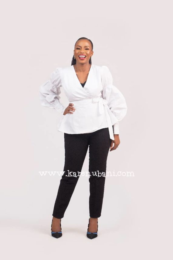 The Verago sleeve Wrap blouse (White) 1