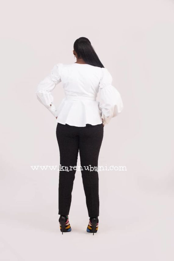 The Verago sleeve Wrap blouse (White) 4