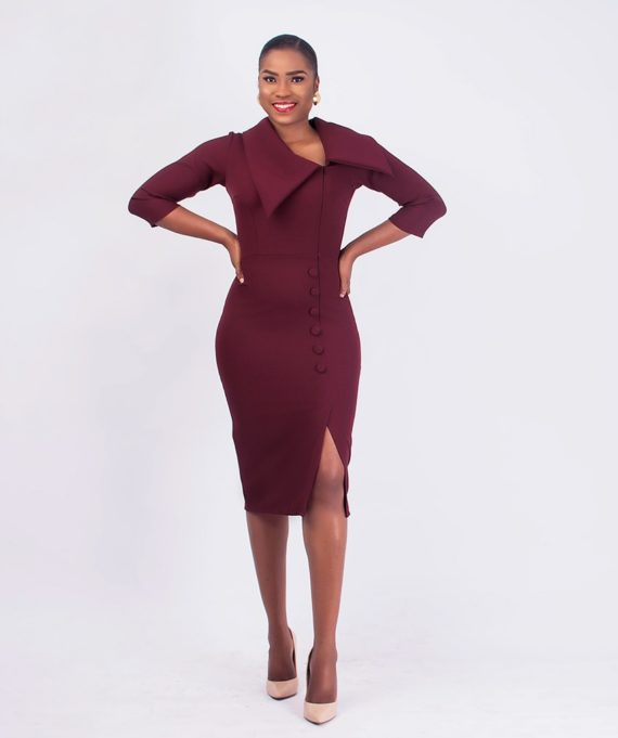 Burgundy Exaggerated Collar Dress 1