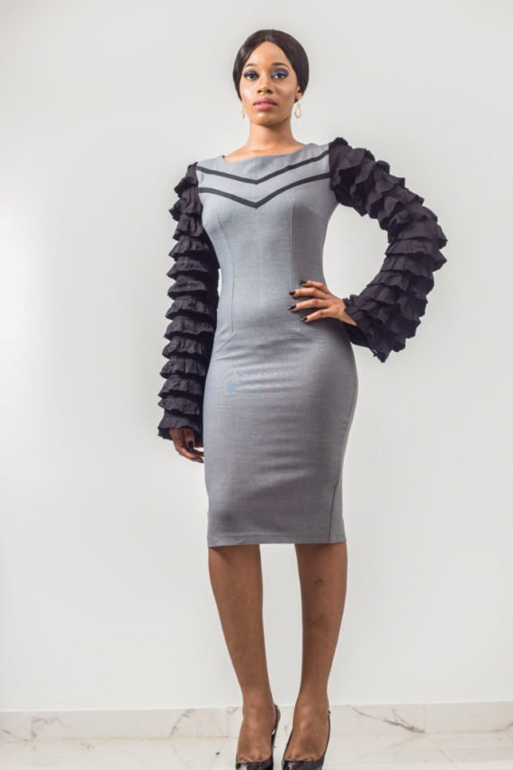 Grey Ruffle Sleeve Pencil Dress (Formal Occassions) 1