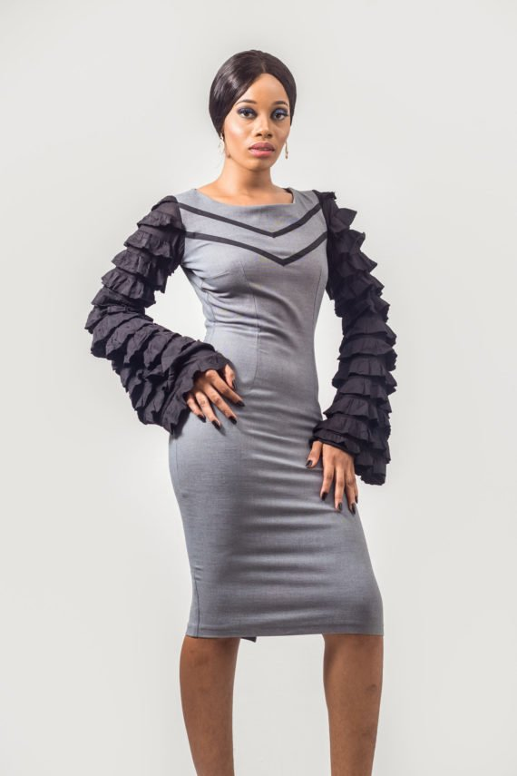 Grey Ruffle Sleeve Pencil Dress (Formal Occassions) 3
