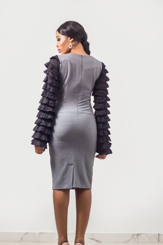 Grey Ruffle Sleeve Pencil Dress (Formal Occassions) 4