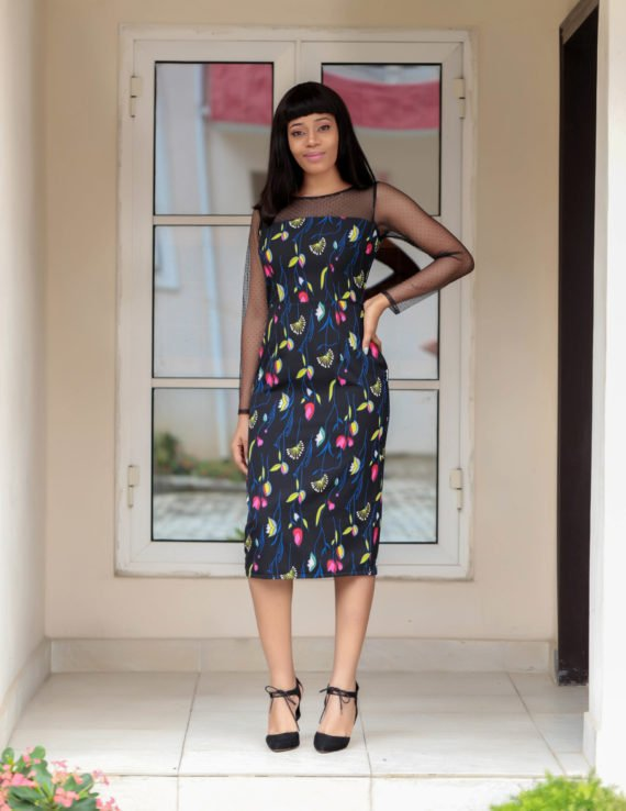 The Barbara Floral Net Detail Pencil Dress 4
