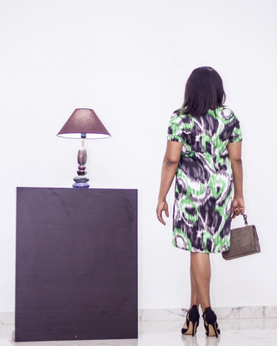 Green Print Shift Dress 2