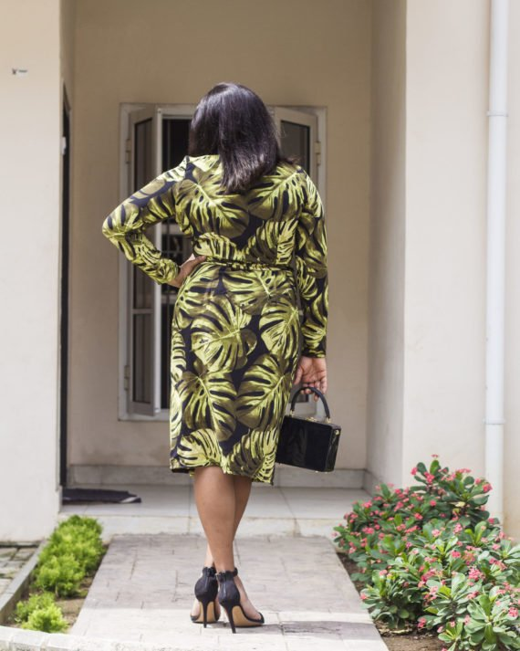 Leaf Print Wrap Dress 3