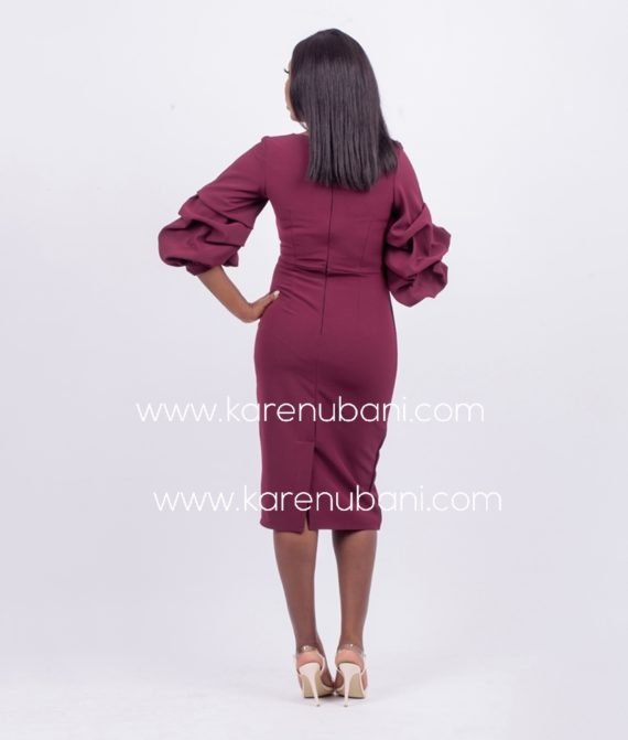 Burgundy Exaggerated Sleeves Pencil Dress 2