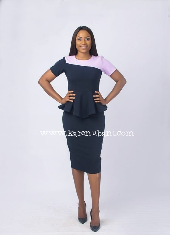 The Jennifer 2 piece Suit (navy and lilac) 4