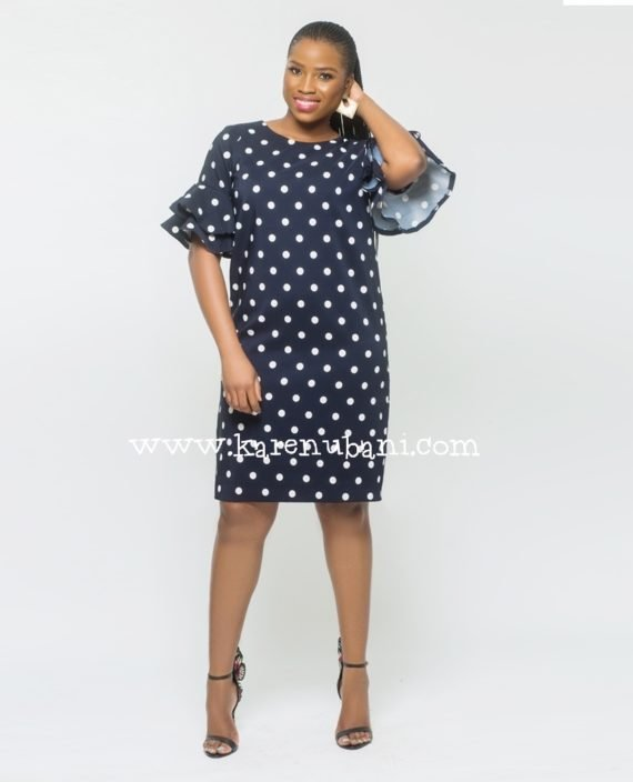 Polkadot Shift Dress With Flutter Sleeves 1