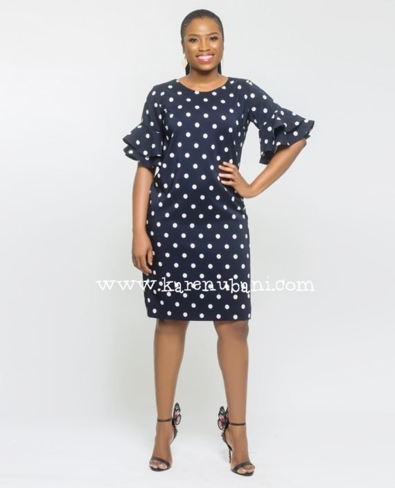 Polkadot Shift Dress With Flutter Sleeves 2