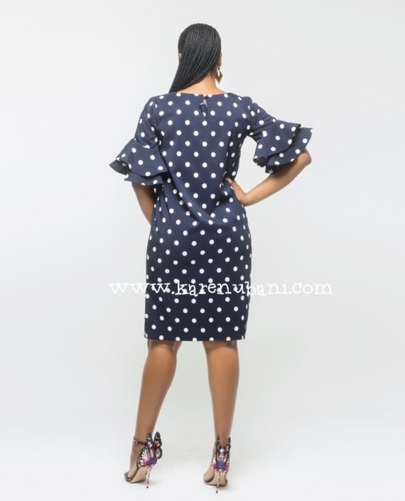 Polkadot Shift Dress With Flutter Sleeves 3
