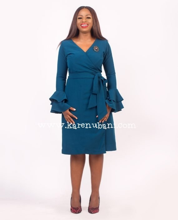 Teal Wrap Dress With Ruffle Sleeves 1