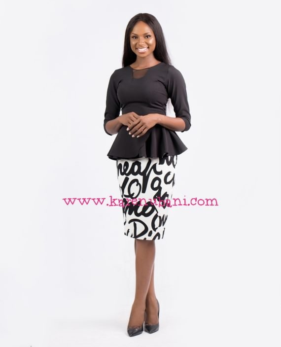 Black Peplum Blouse With Mesh Details 1