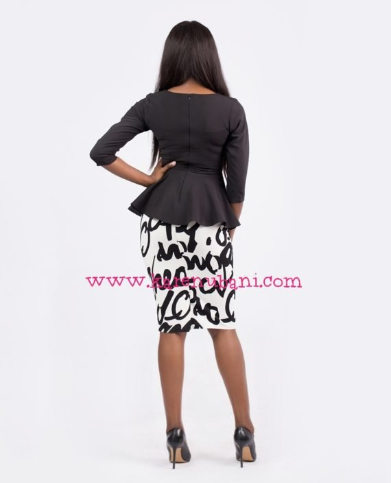 Black Peplum Blouse With Mesh Details 4