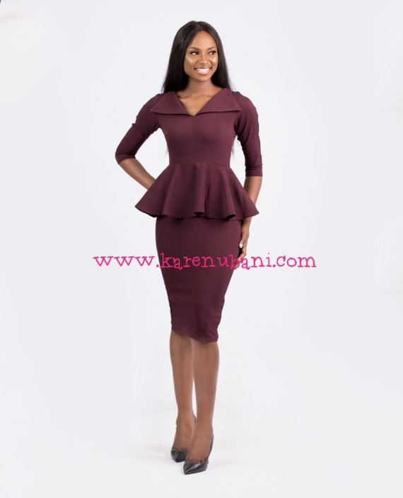 Envelope Collar Detail Peplum Dress-Burgundy 1
